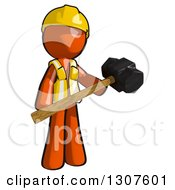 Clipart Of A Contractor Orange Man Worker Holding A Sledge Hammer Royalty Free Illustration