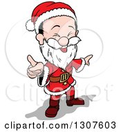 Clipart Of A Cartoon Laughing Jolly Christmas Santa Claus Pointing Royalty Free Vector Illustration by dero