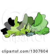 Clipart Of A Cartoon Rock And Shrubs Royalty Free Vector Illustration by dero