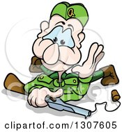 Clipart Of A Cartoon Blue Eyed White Male Soldier On The Ground With A Toy Gun Royalty Free Vector Illustration
