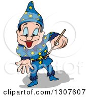 Cartoon Excited Blue Eyed White Male Wizard Using A Wand