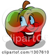 Cartoon Gradient Green And Red Happy Apple Character