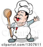 Cartoon Chubby White Male Chef Presenting And Holding A Spoon