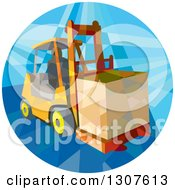 Clipart Of A Retro Low Poly Geometric Worker Operating A Forklift And Moving A Crate In A Circle Royalty Free Vector Illustration