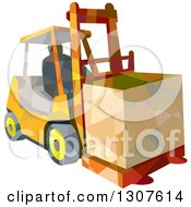 Clipart Of A Retro Low Poly Geometric Worker Operating A Forklift And Moving A Crate Royalty Free Vector Illustration by patrimonio