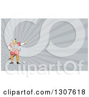 Clipart Of A Cartoon Spanish Conquistador Pointing And Gray Rays Background Or Business Card Design Royalty Free Illustration by patrimonio