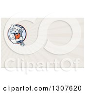 Clipart Of A Retro Woodcut Muscular Elephant Man Mechanic Holding A Wrench And Rays Background Or Business Card Design Royalty Free Illustration