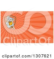 Clipart Of A Retro Woodcut Muscular Elephant Man Mechanic Holding A Wrench And Orange Rays Background Or Business Card Design Royalty Free Illustration