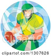 Clipart Of A Retro Low Poly American Football Player Passing In A Circle Royalty Free Vector Illustration