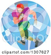 Clipart Of A Retro Low Poly American Football Player Running In A Circle Royalty Free Vector Illustration