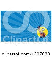 Clipart Of A Cartoon Turkey Bird Worker Mechanic Man Holding Up A Wrench In A Yellow Circle And Blue Rays Background Or Business Card Design Royalty Free Illustration