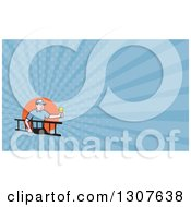 Clipart Of A Cartoon White Male Electrician Carrying A Ladder And Holding A Light Bulb And Blue Rays Background Or Business Card Design Royalty Free Illustration by patrimonio