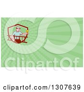 Clipart Of A Cartoon White Male Electrician Carrying A Ladder And Holding A Light Bulb And Green Rays Background Or Business Card Design Royalty Free Illustration by patrimonio