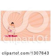 Clipart Of A Low Poly Squatting Sumo Wrestler And Pink Rays Background Or Business Card Design Royalty Free Illustration by patrimonio