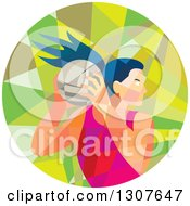 Clipart Of A Retro Low Poly Geometric Female Volleyball Player Rebounding In A Circle Royalty Free Vector Illustration by patrimonio