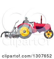 Clipart Of A Retro Low Poly Geometric Farmer Operating A Plow Tractor Royalty Free Vector Illustration