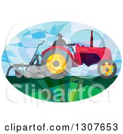 Clipart Of A Retro Low Poly Geometric Farmer Operating A Plow Tractor In An Oval Royalty Free Vector Illustration