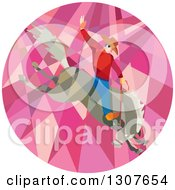 Clipart Of A Retro Low Poly Geometric Male Rodeo Cowboy On A Bucking Horse In A Pink Circle Royalty Free Vector Illustration by patrimonio