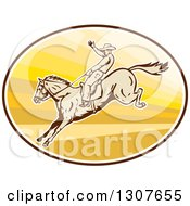 Retro Male Rodeo Cowboy On A Bucking Horse In An Oval