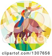 Clipart Of A Retro Low Poly Geometric Rodeo Cowboy Riding A Bull In A Circle Royalty Free Vector Illustration