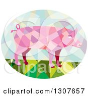 Clipart Of A Retro Low Poly Geometric Pink Pig In An Oval Royalty Free Vector Illustration