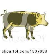Clipart Of A Retro Woodcut Green And Yellow Pig In Profile Royalty Free Vector Illustration