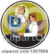 Clipart Of A Retro White Businessman Having A Video Conference At Work Inside A Circle Royalty Free Vector Illustration