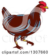 Clipart Of A Retro Woodcut Chicken In Profile Royalty Free Vector Illustration