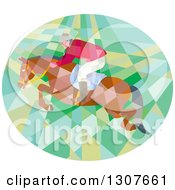 Clipart Of A Retro Low Poly Geometric Equestrian Show Jumping A Horse In An Oval Royalty Free Vector Illustration