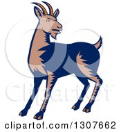 Clipart Of A Retro Woodcut Mountain Goat Royalty Free Vector Illustration by patrimonio