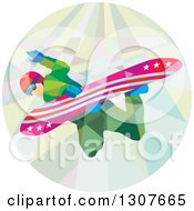 Clipart Of A Retro Low Poly Caucasian Man Snowboarding In A Circle Royalty Free Vector Illustration