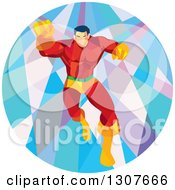 Clipart Of A Retro Low Poly Caucasian Male Super Hero Running Forward And Punching In A Circle Royalty Free Vector Illustration