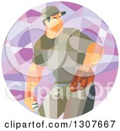 Clipart Of A Retro Low Poly Geometric Male Baseball Player Pitching In A Circle Royalty Free Vector Illustration