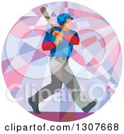 Clipart Of A Retro Low Poly Geometric White Male Baseball Player Batting Inside A Circle Royalty Free Vector Illustration