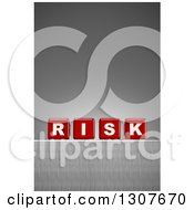 Clipart Of 3d Red Dice Spelling The Word RISK On A Metal Surface Over A Gradient Gray Background Royalty Free Illustration by stockillustrations