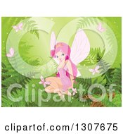 Pretty Pink Haired Princess Fiary Sitting Surrounded By Forest Ferns And Butterflies On Green