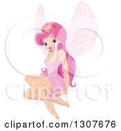 Clipart Of A Pretty Pink Haired Princess Fiary Sitting Royalty Free Vector Illustration