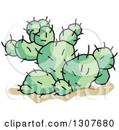 Clipart Of A Cartoon Desert Prickly Pear Cactus Plant Royalty Free Vector Illustration