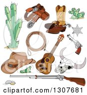 Clipart Of Western Cowboy Accessories Cactus Pistol Boots Sheriff Badge Guns Rope Guitar Skeleton And Hat Royalty Free Vector Illustration