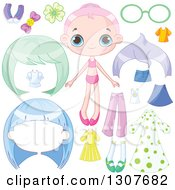 Clipart Of A Pink Haired White Dress Up Girl With Wigs And Clothes Royalty Free Vector Illustration by Pushkin