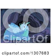Clipart Of A Blue And Green Resting Dragon In A Cave Royalty Free Vector Illustration by Pushkin
