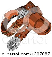 Clipart Of A Western Cowboy Revolver Gun And Bullets In A Holster Royalty Free Vector Illustration by Pushkin