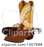 Clipart Of A Cartoon Cowboy Boots With Spurs Royalty Free Vector Illustration by Pushkin