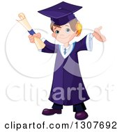 Clipart Of A Happy Brunette White School Boy Graduate Cheering With A Certificate Royalty Free Vector Illustration