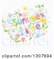 Clipart Of A Colorful Floral And Summer Time Text Doodle On Graph Paper Royalty Free Vector Illustration by Pushkin