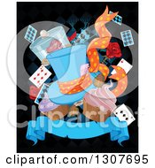 Clipart Of A Alice In Wonderland Mad Hatters Hat Hat Playing Cards And Cupcakes Over Diamonds And A Blank Banner On Black Royalty Free Vector Illustration by Pushkin