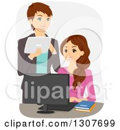 Clipart Of A Happy Brunette White Teacher Or Mother Advising A Teen Girl Royalty Free Vector Illustration
