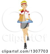 Young White Female Food Worker Wearing Roller Skates With Food At A Drive In