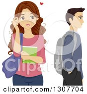 Clipart Of A Brunette High School Teen Girl Crushing On A Male Classmate Royalty Free Vector Illustration