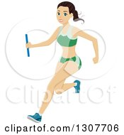 Clipart Of A Sporty Young Brunette White Woman Running A Relay Race Royalty Free Vector Illustration
